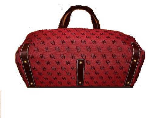 Dooney & Bourke Satchel/Tote Style Mint Condition Rare D B Style Perfect Pop Of Color Lots Of Pockets/Room Satchel in dark red and brown DB logo print heavy canvas and brown leather Image 7