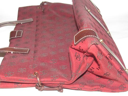Dooney & Bourke Satchel/Tote Style Mint Condition Rare D B Style Perfect Pop Of Color Lots Of Pockets/Room Satchel in dark red and brown DB logo print heavy canvas and brown leather Image 8