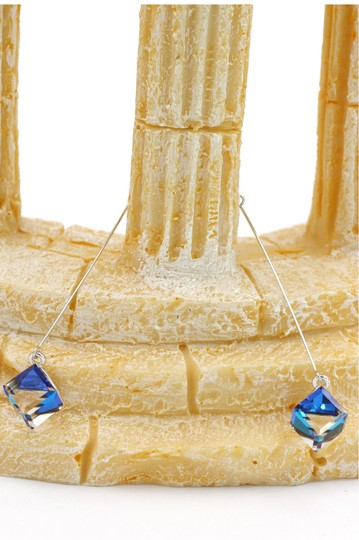 Ocean Fashion Square blue crystal wire earrings Image 4