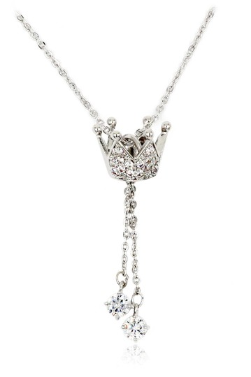 Preload https://img-static.tradesy.com/item/23516263/silver-little-crown-pendant-crystal-necklace-0-0-540-540.jpg