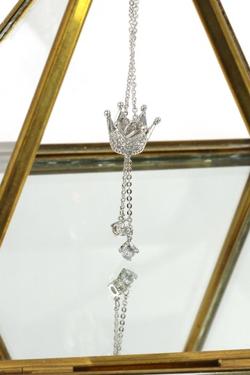 Ocean Fashion Little crown pendant crystal necklace Image 3