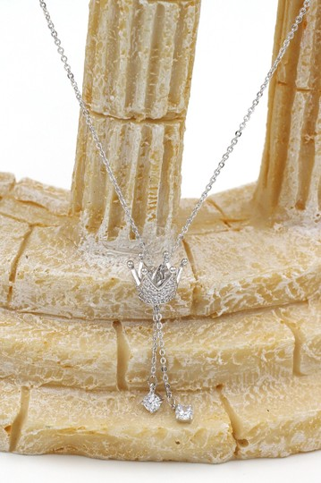 Ocean Fashion Sterling silver Little crown pendant crystal necklace Image 3