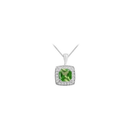 Preload https://img-static.tradesy.com/item/23516284/green-white-gold-cushion-cut-frosted-emerald-pendant-with-round-cz-in-14k-necklace-0-0-540-540.jpg