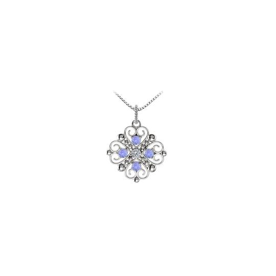 Marco B December Birthstone Created Tanzanite and CZ Heart Pendant Image 0