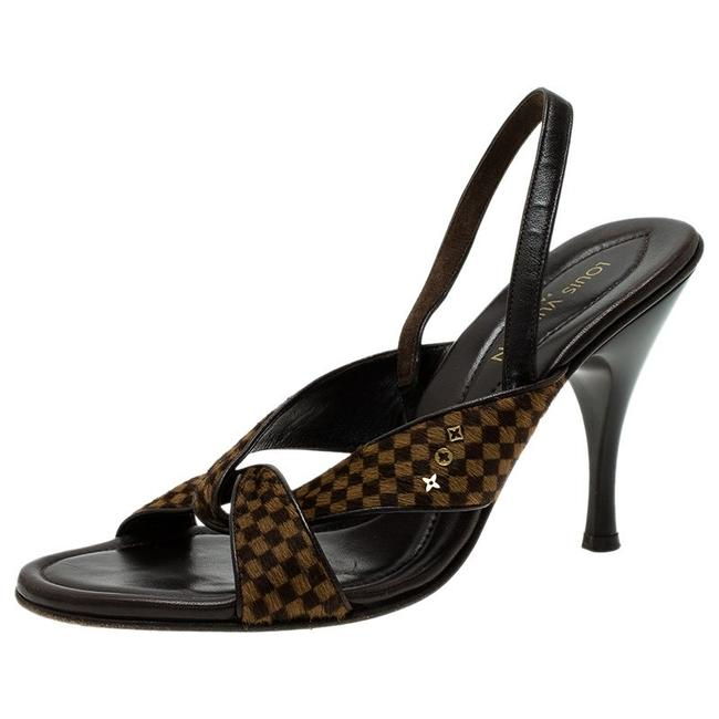 Item - Brown Leather and Damier Check Pony Hair Slingback Sanda Sandals Size EU 39 (Approx. US 9) Regular (M, B)