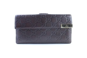 Gucci Flap Continental Long Empreinte Soho Brown Clutch