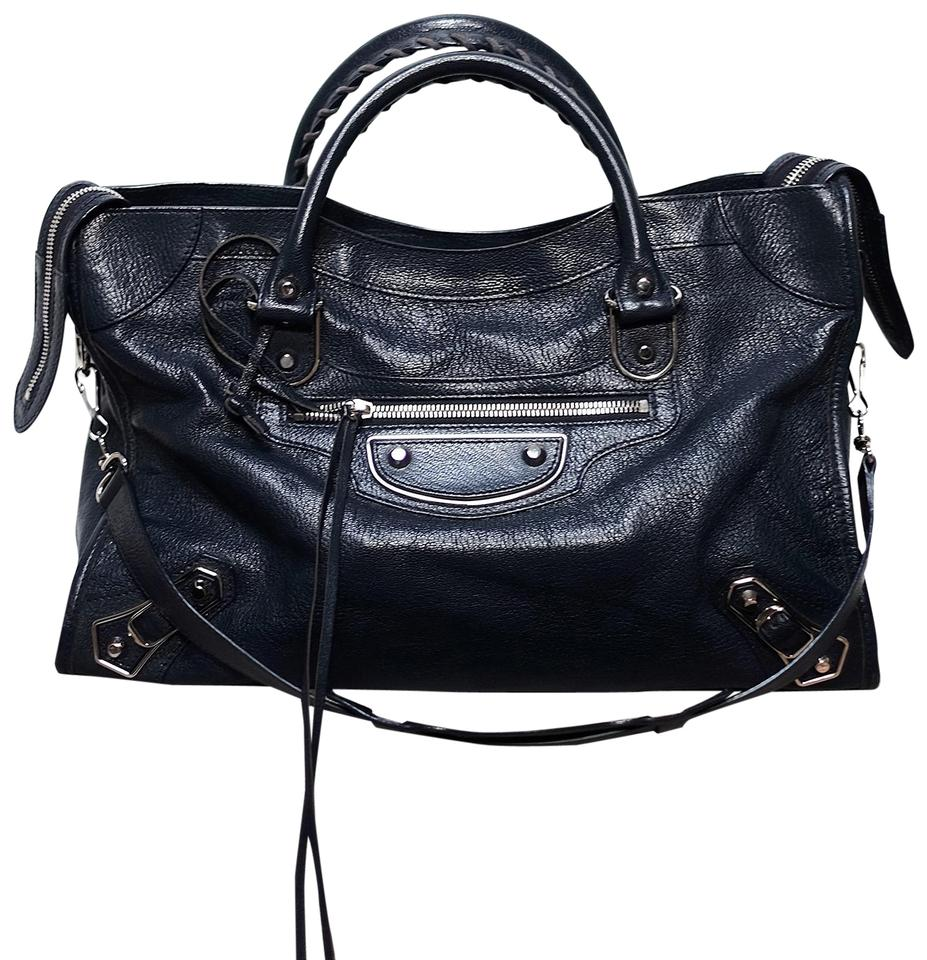 0d61152bd5 Balenciaga Classic City Edge Metallic Edge Satchel in Midnight Blue Image 0  ...
