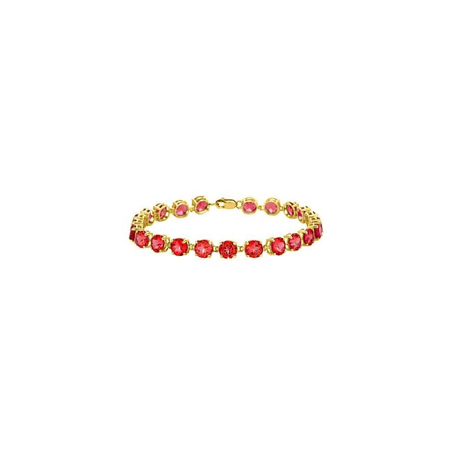 Red Yellow Vermeil Prong Set Round Ruby Ct Tgw July Birthstone Bracelet Red Yellow Vermeil Prong Set Round Ruby Ct Tgw July Birthstone Bracelet Image 1