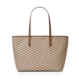 Michael Kors Canvas Emry Handbag Tote in Natural/Luggage/Gold