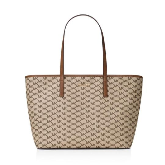 Michael Kors Canvas Emry Handbag Tote in Natural/Luggage/Gold Image 0