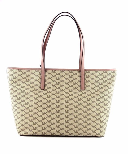 Michael Kors Canvas Emry Handbag Tote in Natural/Luggage/Gold Image 1