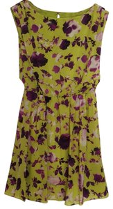 Alice + Olivia short dress Chartreuse with purple flowers. on Tradesy