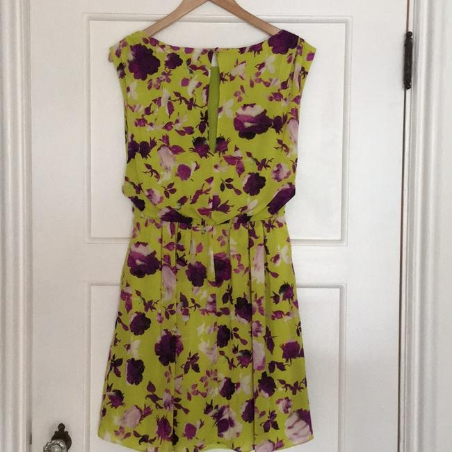 Alice + Olivia short dress Chartreuse with purple flowers. on Tradesy Image 1