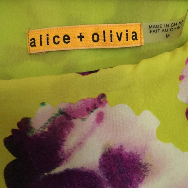 Alice + Olivia short dress Chartreuse with purple flowers. on Tradesy Image 4
