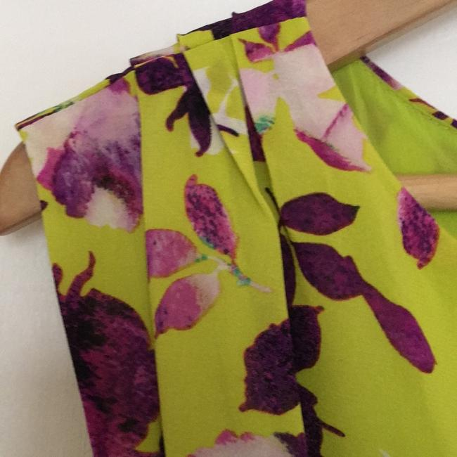 Alice + Olivia short dress Chartreuse with purple flowers. on Tradesy Image 6