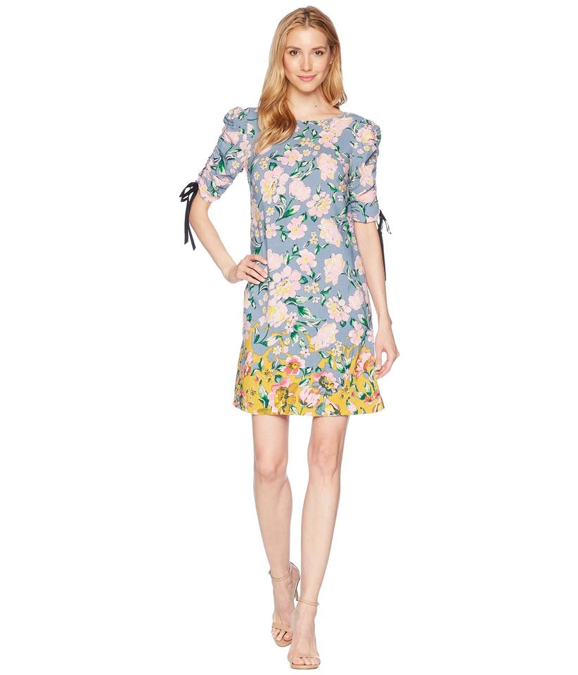 17741da84e88 Anthropologie New Dusty Blue & Yellow + Pink Floral Multi Donna ...