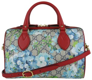 Gucci Beige/Blue Gg Coated Canvas Small 409529 8492 Satchel in Beige/Blue