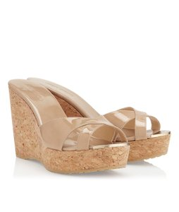 Jimmy Choo Patent Leather Sandal Nude Wedges