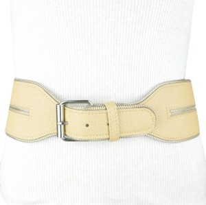 BCBGMAXAZRIA Taupe Wide Waist Faux Leather Belt Small