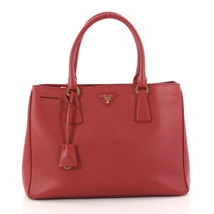 Prada Gardeners Leather Tote in red