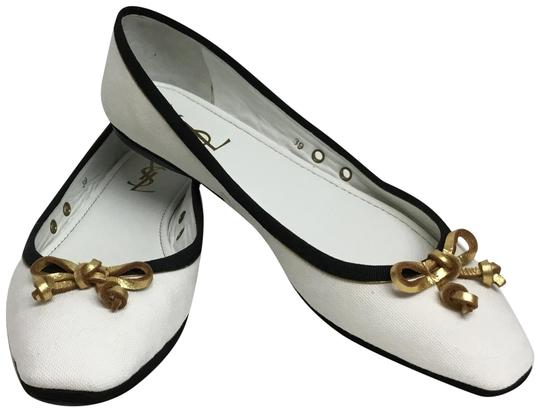 Preload https://img-static.tradesy.com/item/23517554/saint-laurent-white-canvas-with-black-trim-and-gold-leather-bow-flats-size-eu-39-approx-us-9-regular-0-2-540-540.jpg