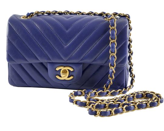 39e7d49963f5 Chanel Classic Mini Timeless Flap Blue Lambskin Leather Shoulder Bag ...