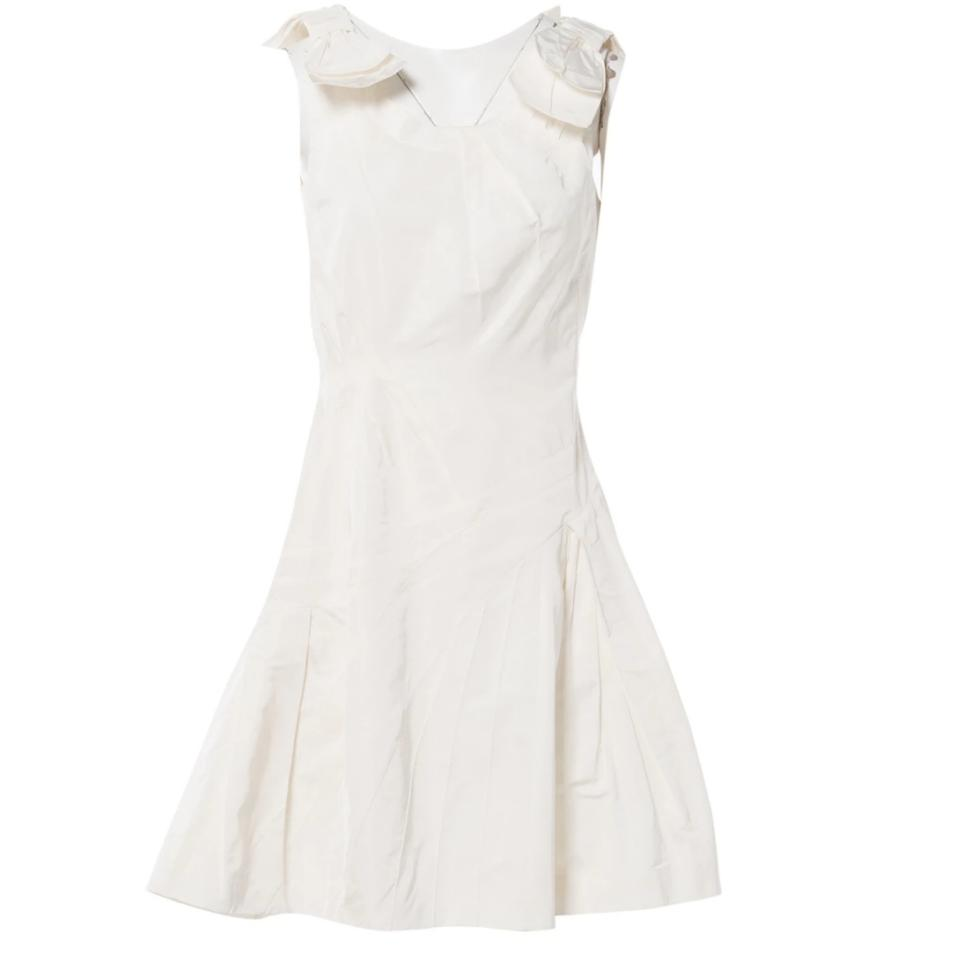3bd6095b771 Louis Vuitton White Silk with Bow Details At Neckline Mid-length Formal  Dress Size 4 (S) 90% off retail