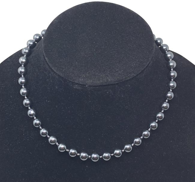 Item - Black Round Faux Pearl Ball Necklace