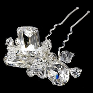 Elegance by Carbonneau Silver Or Gold Swarovski Beads with Rhinestone Pin Hair Accessory