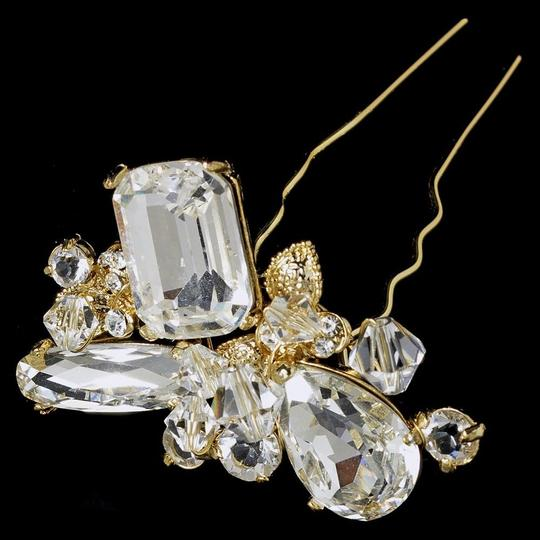 Elegance by Carbonneau Silver Or Gold Swarovski Beads with Rhinestone Pin Hair Accessory Image 1
