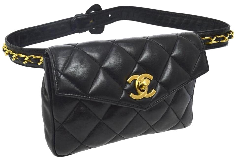 074b71fde23608 Chanel Waist Bag Mini Quilted Bum Black Leather Clutch - Tradesy