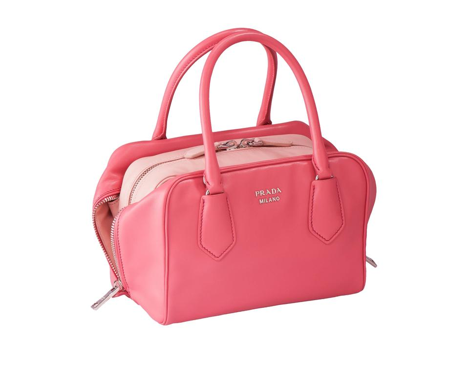 Prada Bauletto Women s Soft Calf Handbag 1bb011 Pink Leather Satchel ... cf61b8e7c8dbc