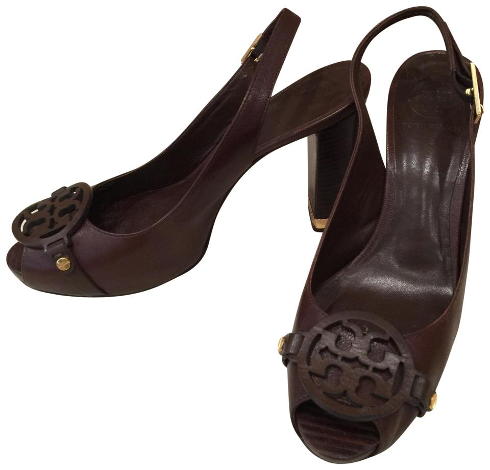 Tory Burch Burch Tory Brown Open Toe Pumps baad4f