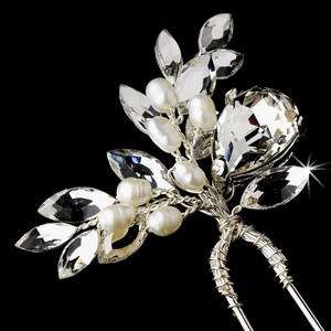 Elegance by Carbonneau Silver Rhinestone and Crystal Faux Pearl Pin Hair Accessory
