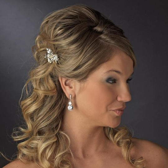 Elegance by Carbonneau Silver Rhinestone and Crystal Faux Pearl Pin Hair Accessory Image 2