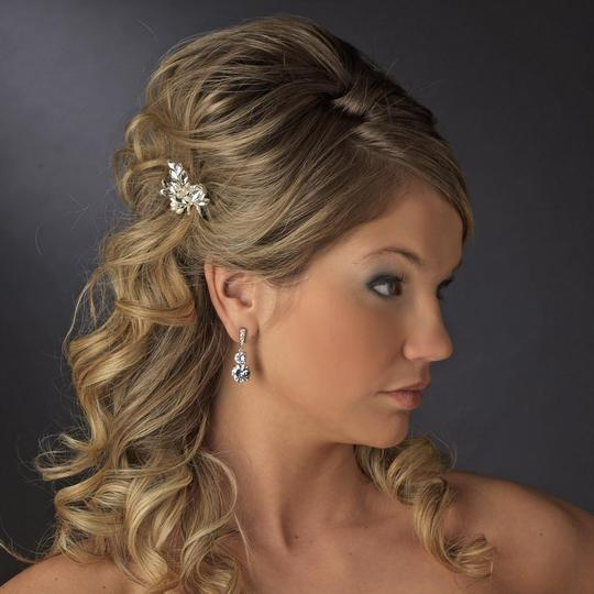 Elegance by Carbonneau Silver Rhinestone and Crystal Faux Pearl Pin Hair Accessory Image 3