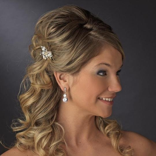 Elegance by Carbonneau Silver Rhinestone and Crystal Faux Pearl Pin Hair Accessory Image 4