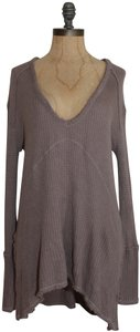 Free People Sunset Park Thermal Waffle T Shirt taupe