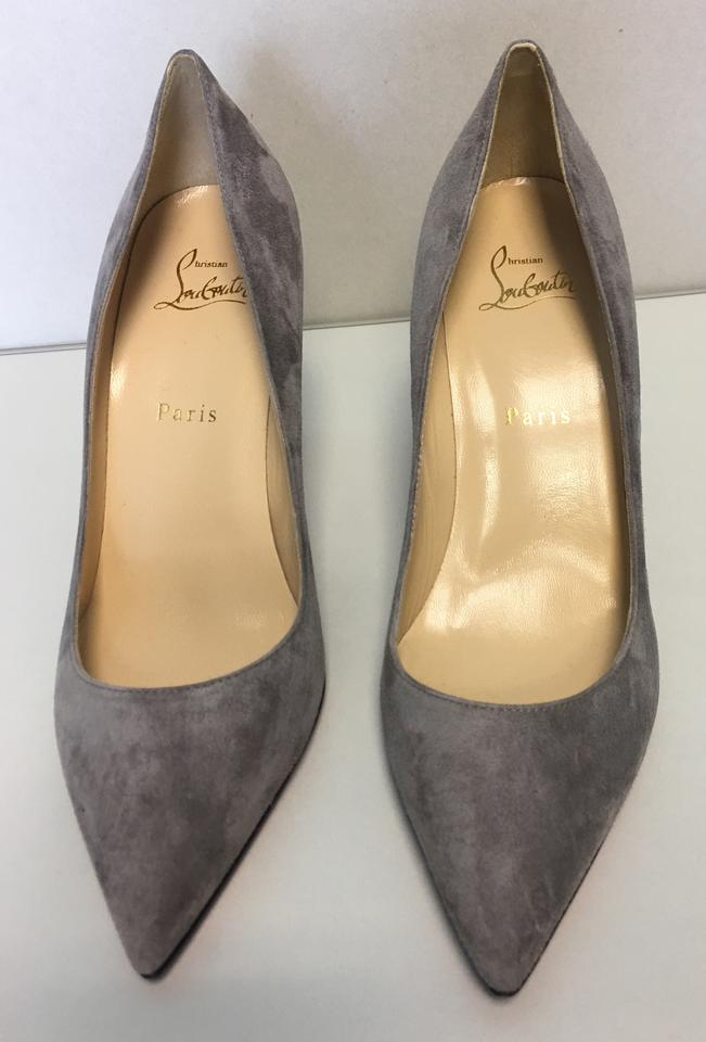 Suede Grey Leather Pigalle Point Louboutin 85mm Christian toe Follies Pumps Storm Classic 0qOOxT