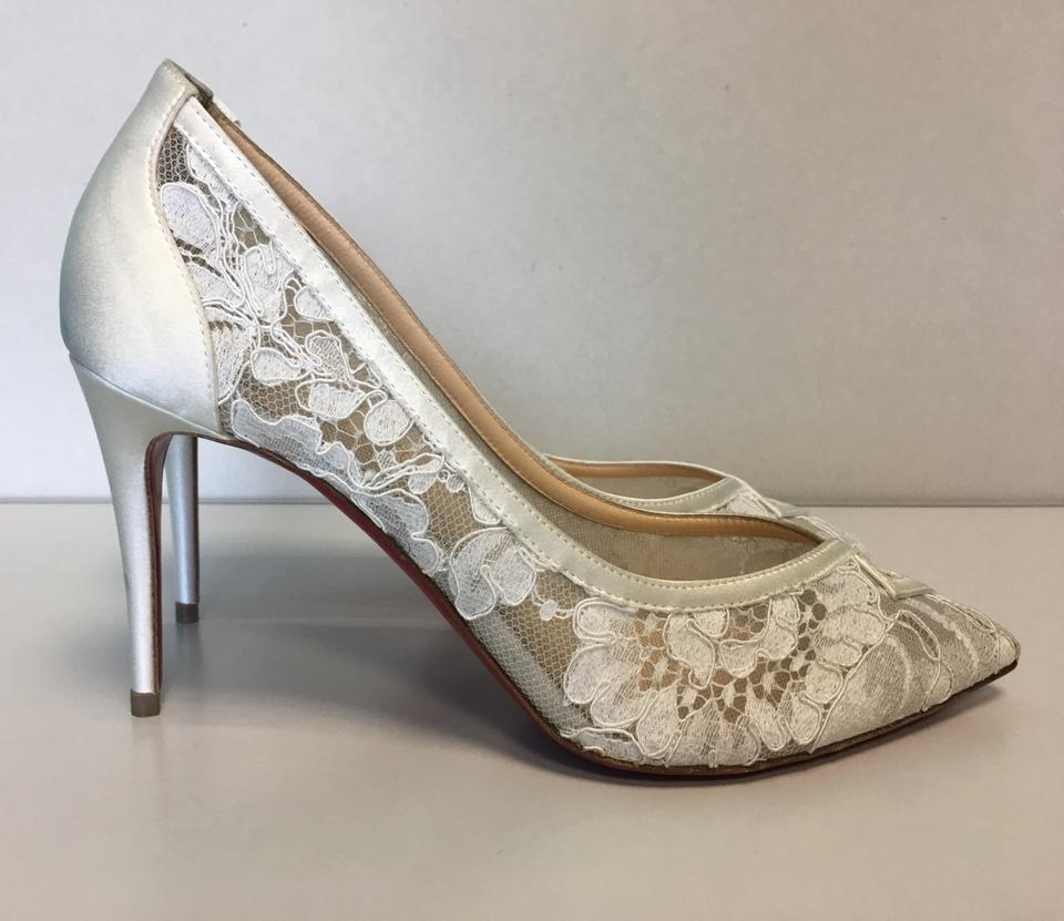 74ed2244351 Christian Louboutin White Classic Neoalto 85mm Dentelle Lace Mesh Crepe  Satin Point Toe Pumps Size EU 37 (Approx. US 7) Regular (M
