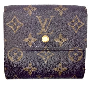 Louis Vuitton Square Monogram Double sided Flap Wallet coin card bill holder