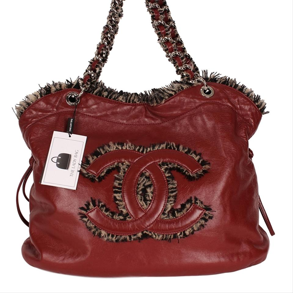 f7c162aea580 Chanel Timeless Tweed Trim Shoulder 6178 Red Leather Tote - Tradesy
