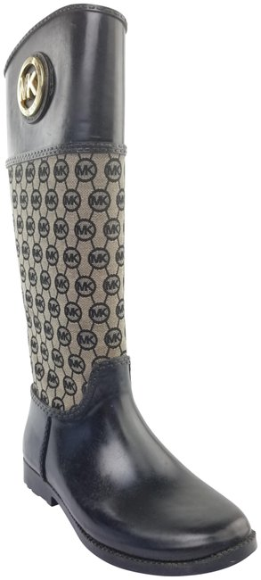 Item - Black and Beige Monogram Tall Canvas Rubber Boots/Booties Size US 8 Regular (M, B)