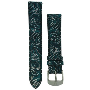 Michele Michele 18mm Blue Floral Suede Leather Strap MS18AA090452