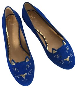 Charlotte Olympia Kitty Blue Flats