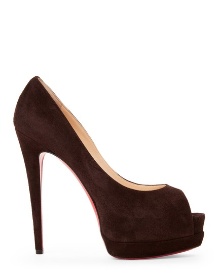 Christian Louboutin Red Sole Peep Toe Hidden CHOCOLATE SUEDE Platforms Image 1