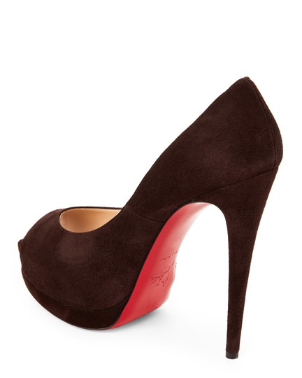 Christian Louboutin Red Sole Peep Toe Hidden CHOCOLATE SUEDE Platforms Image 2