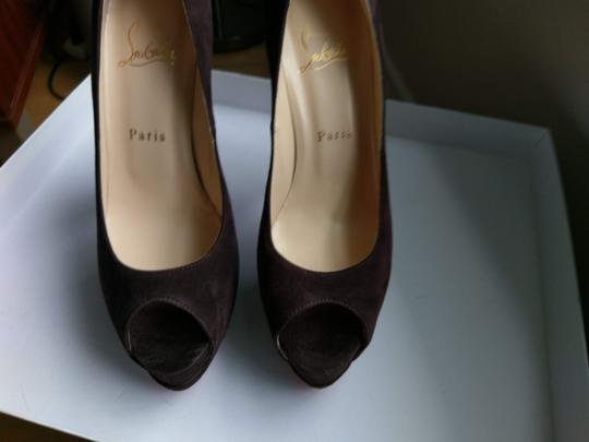 Christian Louboutin Red Sole Peep Toe Hidden CHOCOLATE SUEDE Platforms Image 4