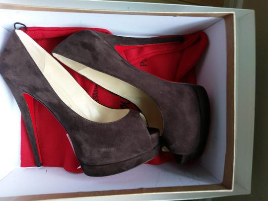 Christian Louboutin Red Sole Peep Toe Hidden CHOCOLATE SUEDE Platforms Image 8