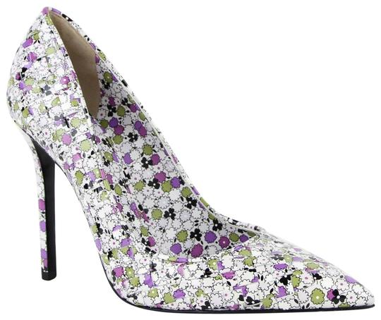 Bottega Veneta Women Green/Purple Leather Floral Green/Purple Pumps Image 0